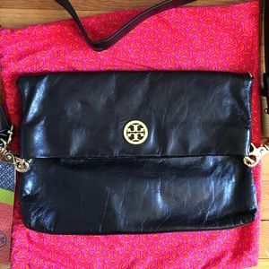 Tory Burch Dena Foldover Messenger Purse Bag Black